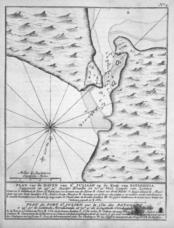 Plan van de Haven van St. Juliaan op de Kust van Patagonia - Puerto San Julian Argentinia Argentinien Südameri