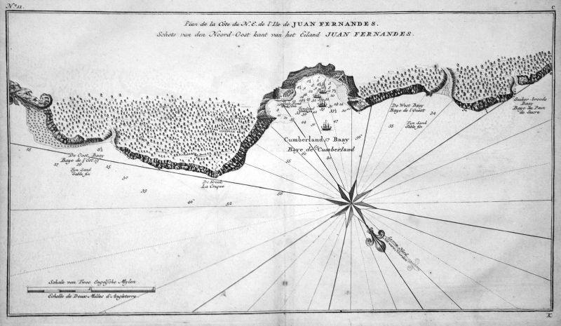 Plan de la Cote du N.E. de l'Ile de Juan Fernandes - Juan Fernandez Cumberland Robinson Crusoe Karte map Kupfe