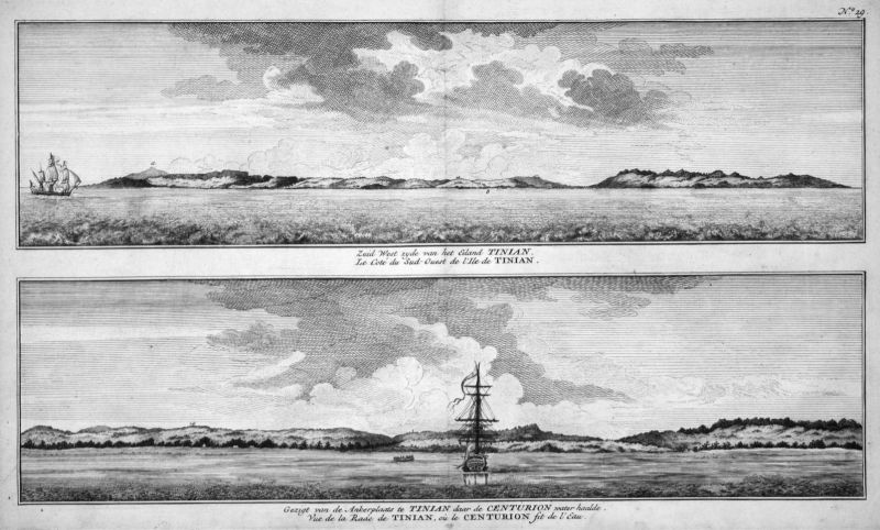 Zuid West zyde van het Eiland Tinian - Tinian Mariana Islands Pacific Küste coast Kupferstich antique print