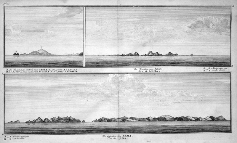 De Eilanden van Lema - Lema Marianen Mariana Islands Ansicht view Kupferstich antique print