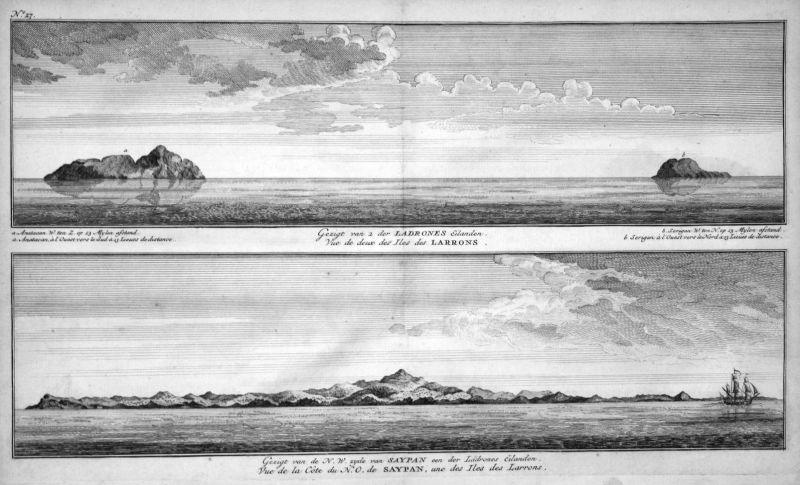 Gezigt van 2 der Ladrones Eilanden - Saipan Mariana Islands Ansicht coast Küste Kupferstich antique print