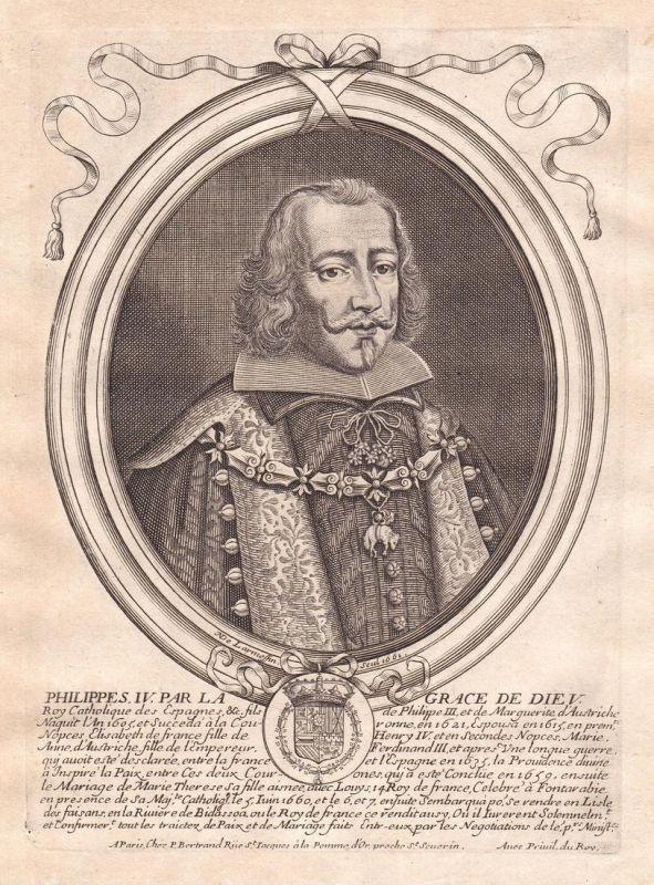 Philippes IV - Philip Spain Felipe IV de Espana rey Portrait Kupferstich engraving