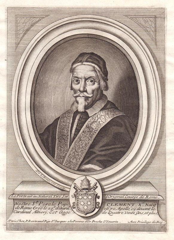 Nostre St. Perete Pape Clement X - Clemente X papa Papst pope Portrait Kupferstich engraving