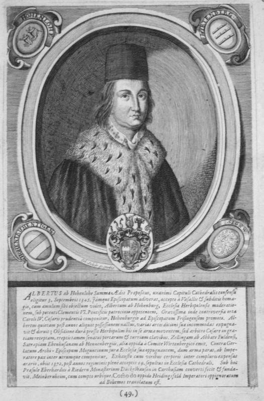 Albertus ab Hohenlohe - Albrecht II. von Hohenlohe Würzburg Portrait Kupferstich engraving