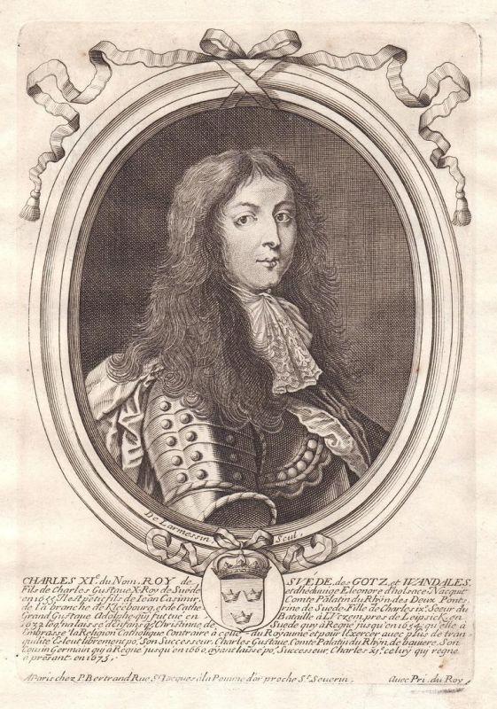 Charles XI - Charles Sweden Karl XI kung Sverige Portrait Kupferstich engraving