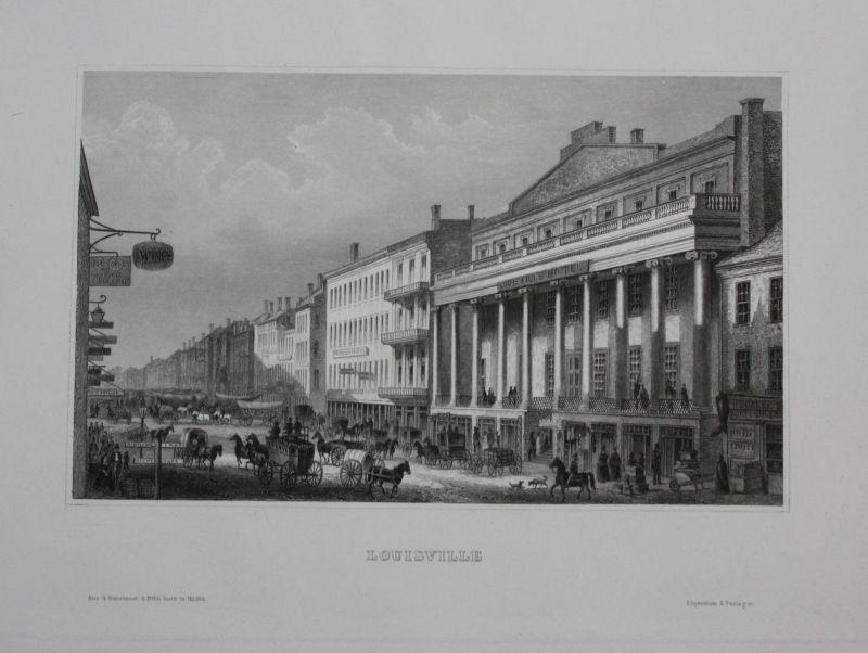 Louisville Kentucky USA  Stahlstich engraving antique print