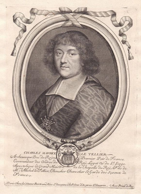 Charles Maurice le Tellier - Charles Maurice Le Tellier Portrait Kupferstich engraving gravure