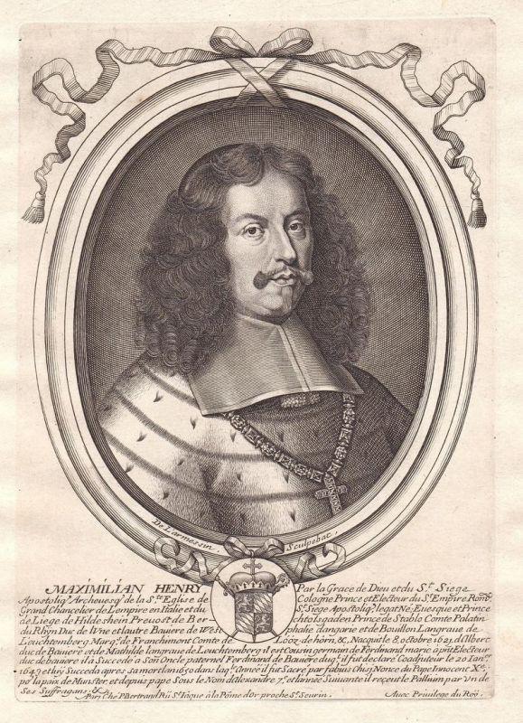 Maximilian Henry - Maximilian Heinrich von Bayern Portrait Kupferstich engraving
