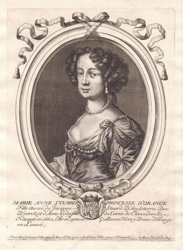 Marie Anne Stuard - Mary II of England Scotland Ireland Portrait Kupferstich engraving