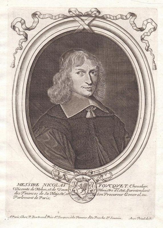 Messire Nicolas Foucquet - Nicolas Fouquet Portrait Kupferstich engraving gravure