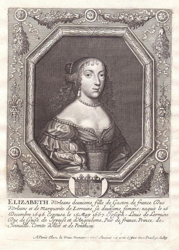Elizabeth d'Orleans - Elisabeth Marguerite d'Orleans Portrait Kupferstich engraving gravure