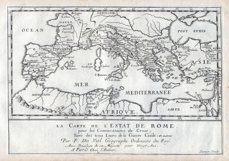 La Carte de l'Estat de Rome - Roman Empire Asien Europe map carte Karte Kupferstich antique print