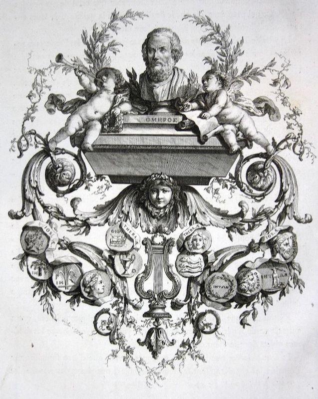 Omphoe - Medaille medals Statue Engel angel Kupferstich antique print