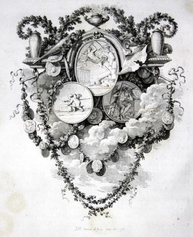 Medaille medal Engel angel Leben live Kupferstich antique print