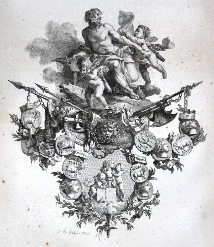Engel angel Medaille medals Waffen weapons Kupferstich antique print