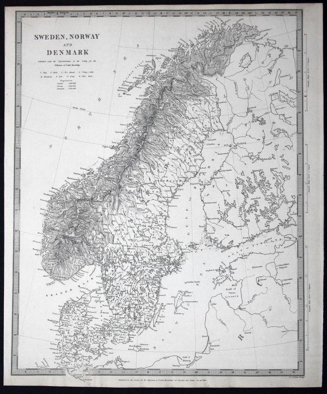 Sweden, Norway and Denmark - Sweden Schweden Svergie Norway Norwegen Norge Denmark Dänemark Danmark SDUK Karte
