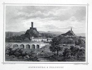 Altenburg & Felsberg - Altenburg Felsberg Hessen Thüringen gravure Stahlstich