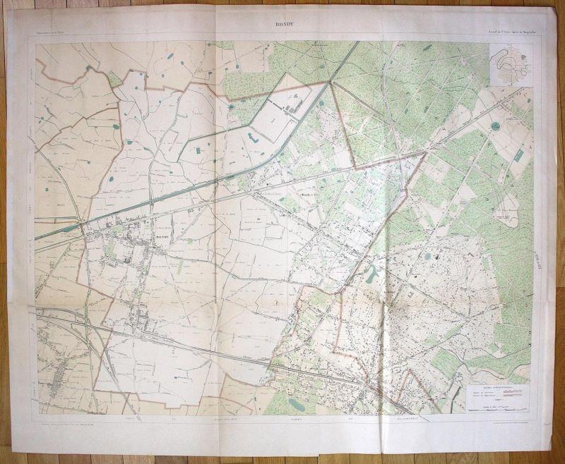 Bondy - Bondy Le Raincy Chemin Seine-Saint-Denis plan de la ville city map Paris