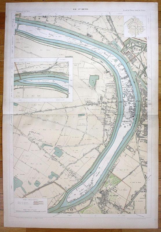 Ile St. Denis - L'Île-Saint-Denis Saint-Ouen Villeneuve plan de la ville city map Paris