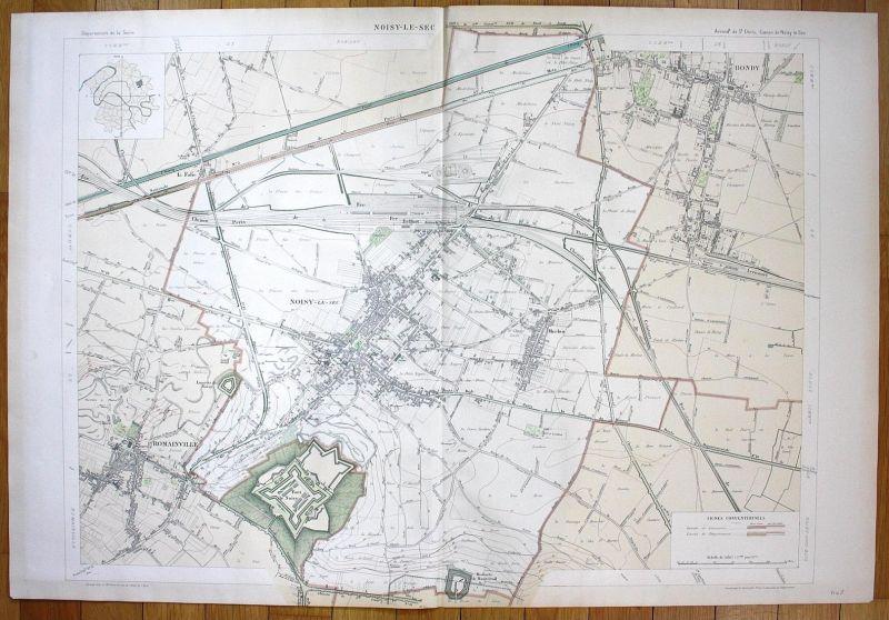 Noisy-le-Sec - Noisy-le-Sec Romainville Bondy Merlan Chemin plan de la ville city map Paris