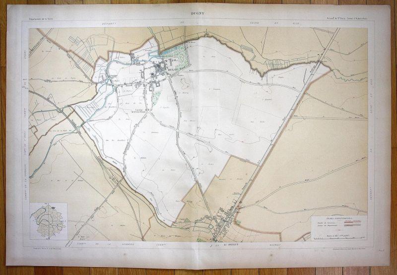 Dugny - Dugny Le Bourget Seine-et-Oise La Courneuve plan de la ville city map Paris