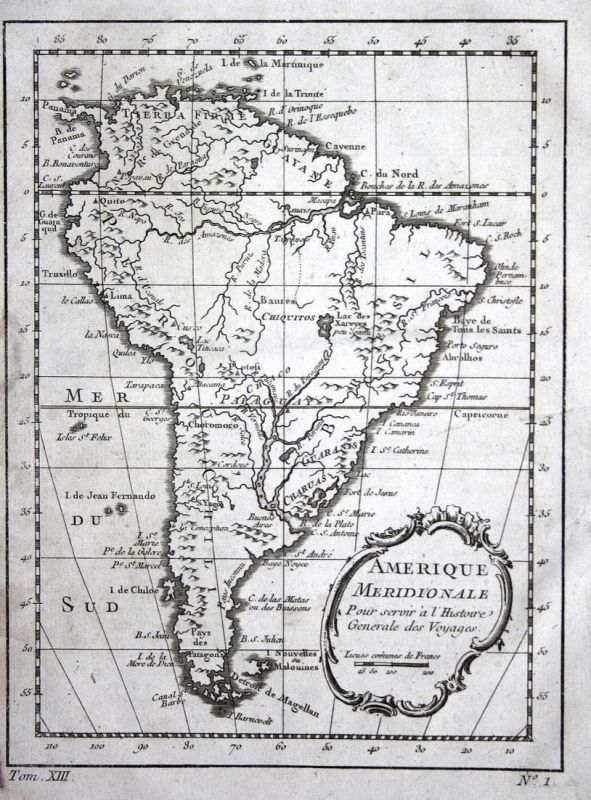 Amerique Meridionale - South America Brasil Peru Chile Paraguay Karte map Kupferstich antique print