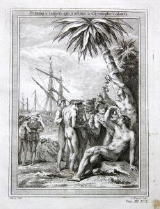 Premiers Indiens qui s'offrent a Christophe Colomb - Christopher Columbus Native American Kupferstich antique