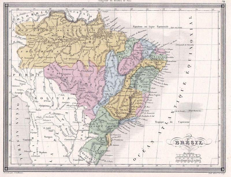 Bresil - Amerika Brasilien Brazil Südamerika United States USA Karte map  Vuillemin