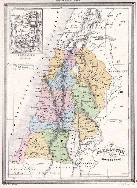 Palestine divisee en Tribus - Palästina Palestine Jerusalem Israel Libanon Asia Asien Karte map Vuillemin