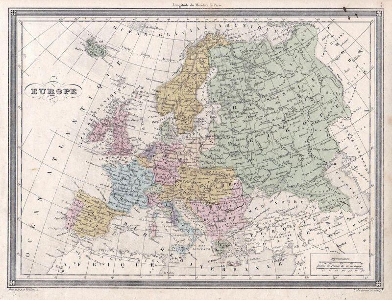 Europe - Europe Europa Russia Russland Spain Spanien Germany Deutschland  Karte map Vuillemin