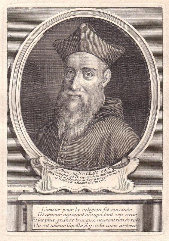 Jean du Bellay - Jean du Bellay cardinal gravure Portrait Kupferstich antique print