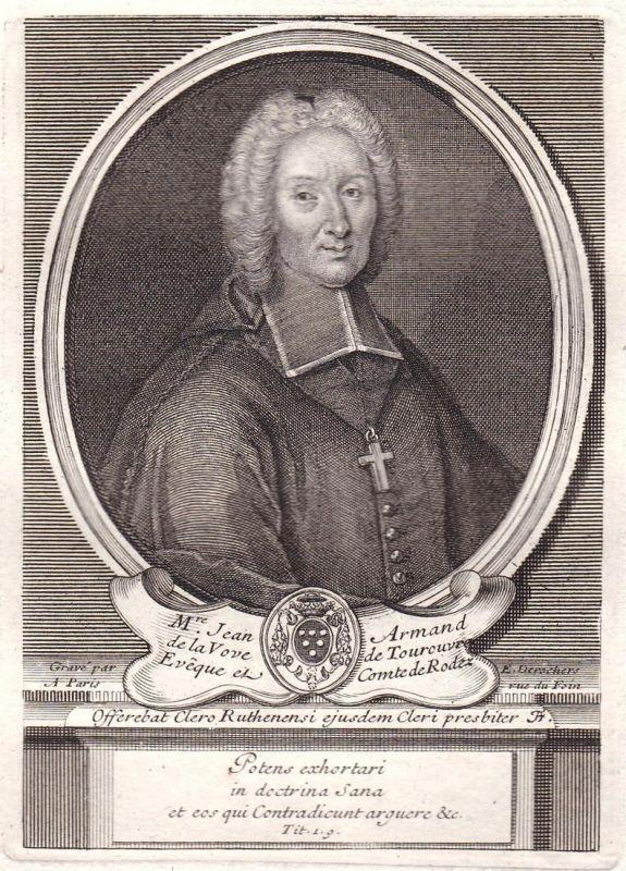 M.re Jean Armand de la Voue de Tourouvre - Jean-Armand de La Voue de Tourouvre gravure Portrait Kupferstich an