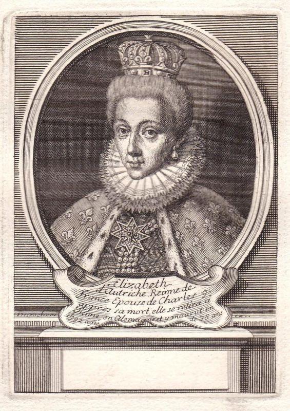 Elizabeth d'Autriche - Elisabeth von Österreich d'Autriche reine France gravure Portrait Kupferstich antique p
