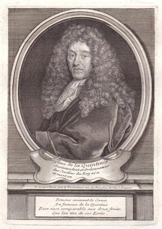 Jean de la Quintinie - Jean-Baptiste de La Quintinie jardinier agronome Versailles gravure Portrait Kupferstic