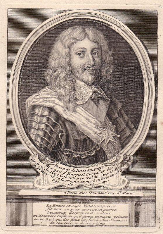 Francois de Bassompierre - Francois de Bassompierre marechal gravure Portrait Kupferstich antique print