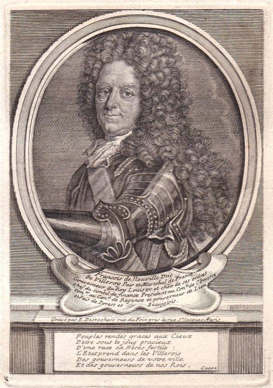 Francois de Neuville duc de Villeroy - Francois de Neufville de Villeroy marechal gravure Portrait Kupferstich