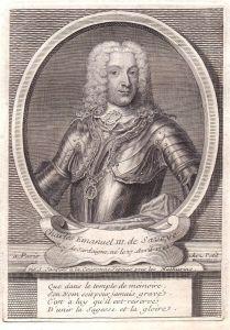 Charles Emanuel III de Savoye - Carlo Emanuele III di Savoia incisione stampa acquaforte Portrait Kupferstich