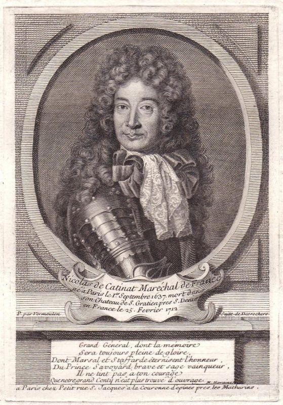 Nicolas de Citinat Marechal de France - Nicolas de Catinat marechal gravure Portrait Kupferstich antique print