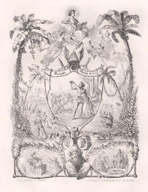 Oberon - Epos Versepos Gedicht Radierung etching