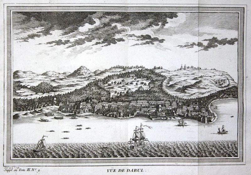 Vue de Dabul - Goa Dabul India Dabhol Indien Ansicht view Kupferstich antique print