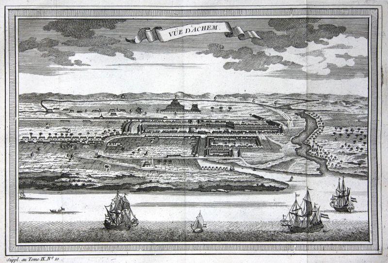 Vue d'Achem - Banda Aceh Indonesia Sumatra Ansicht view Kupferstich antique print