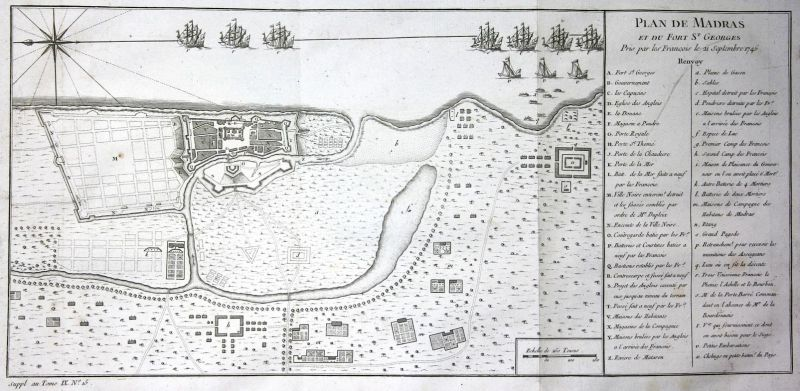 Plan de Madras et du Fort St. Georges - Fort St. George Chennai Tamil Nadu India plan Kupferstich antique prin