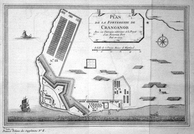 Plan de la Forteresse de Cranganor - Kottapuram Fort Cranganore India map plan Kupferstich antique print