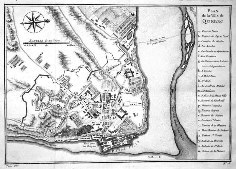 Plan de la Ville de Quebec - Quebec Canada map Karte plan Kupferstich antique print