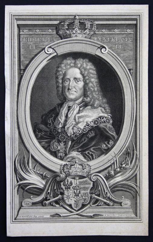 Fridericus rex Prussiae - Friedrich I. Preußen König Portrait Kupferstich antique print
