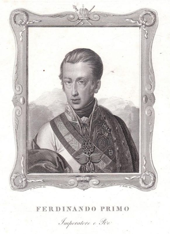 Ferdinando Primo - Ferdinand I. HRR Kaiser König Holy Roman Emperor Portrait Kupferstich antique print