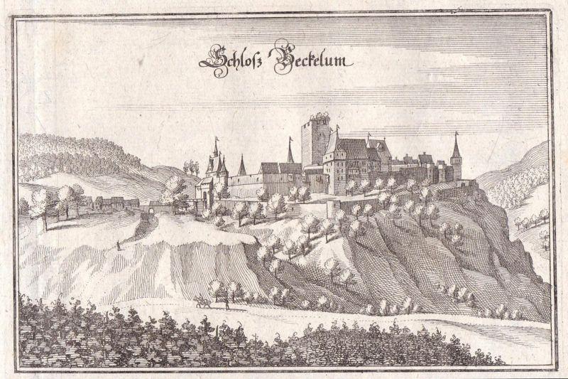 Schloss Beckelum - Schloßböckelheim Bad Kreuznach Pfalz Merian Kupferstich antique print