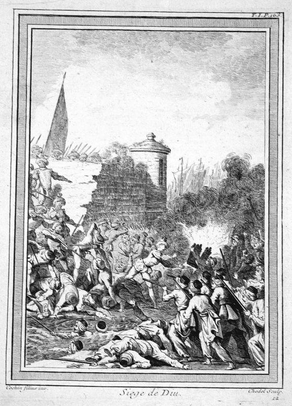 Siege du Diu - Diu Indien India siege battle Schlacht Kupferstich antique print