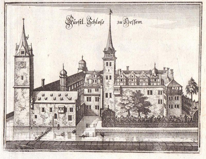 Fürstl. Schloss zu Hessem - Hessen Schloss Sachsen-Anhalt Schlossanlage Merian Kupferstich antique print