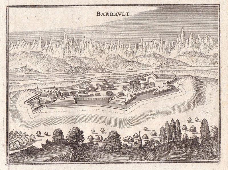 Barrault - Barraux Frankreich Isere Schloss Festung Merian Kupferstich antique print